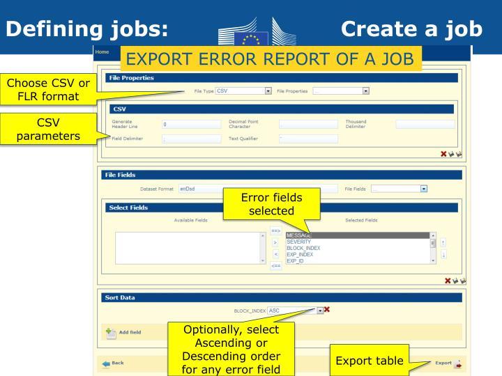 EXPORT ERROR REPORT OF A JOB