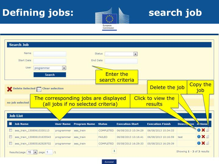 Defining jobs:                        search job