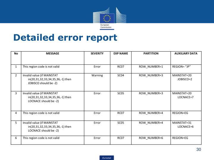 Detailed error report