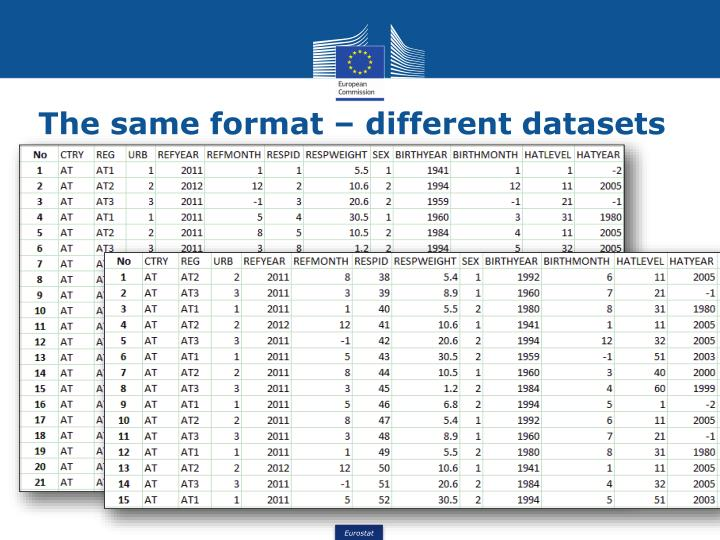 The same format – different datasets