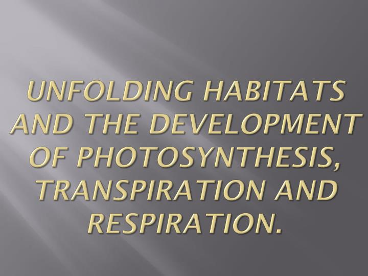 unfolding habitats and the development of photosynthesis transpiration and respiration n.
