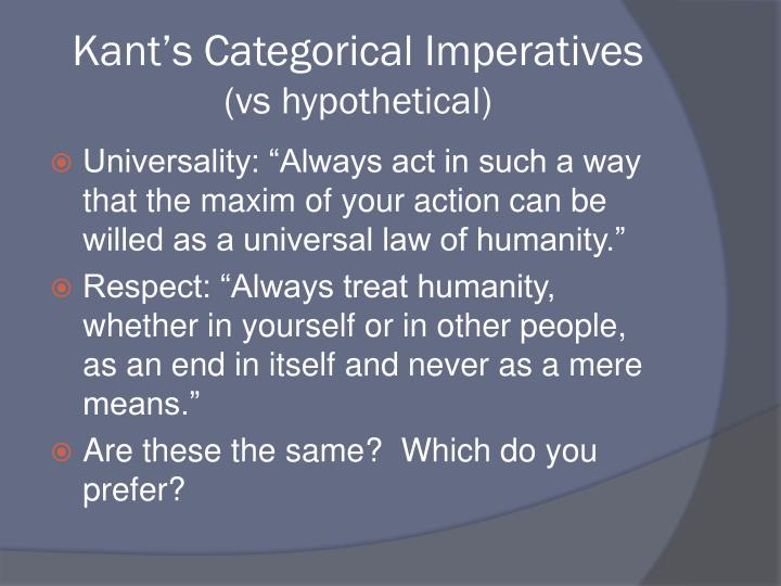 Kant's Categorical Imperatives