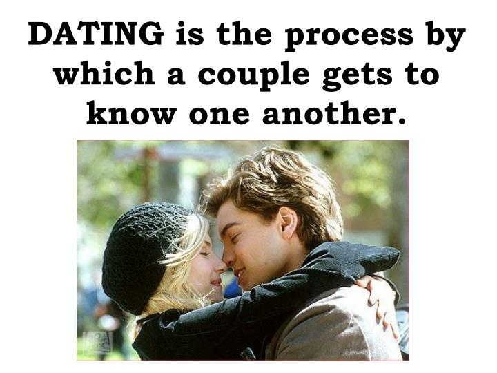 DATING is the process by which a couple gets to know one another.