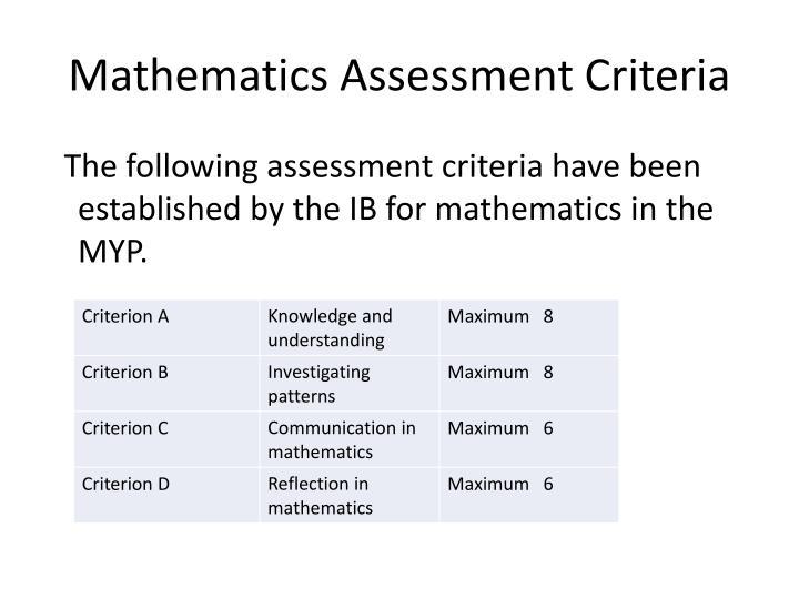 Mathematics assessment criteria