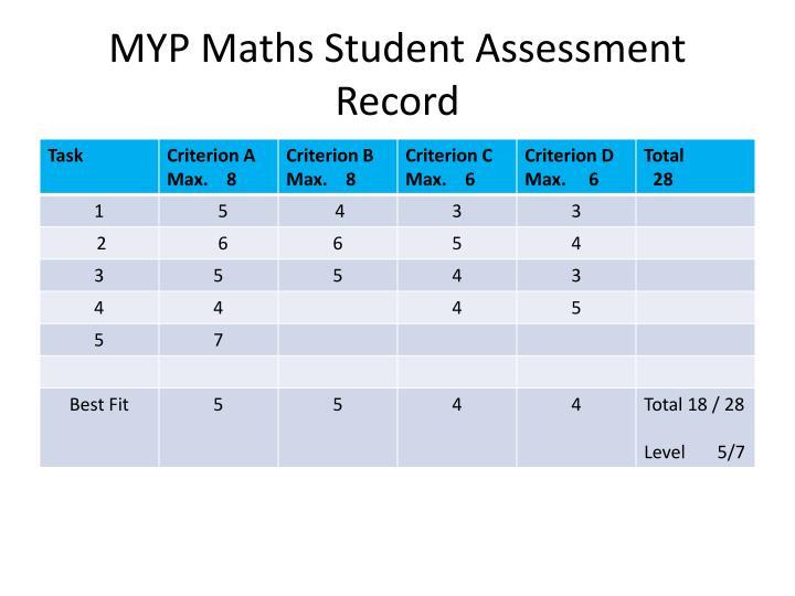 MYP Maths Student Assessment Record