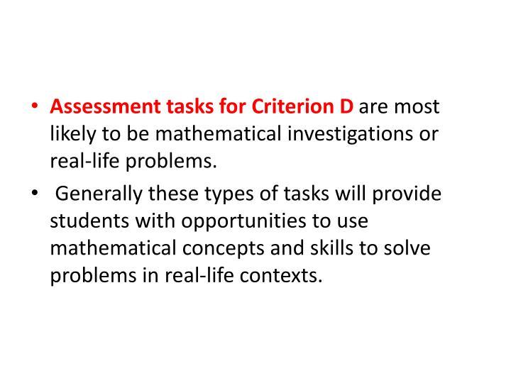 Assessment tasks for Criterion D