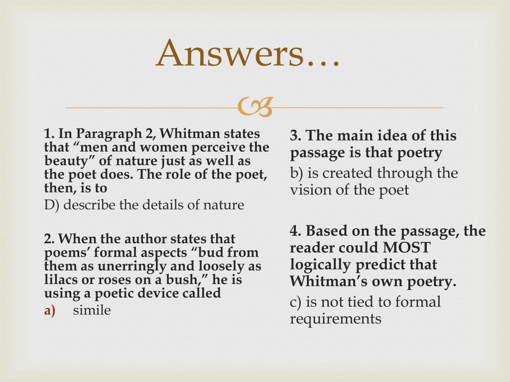 PPT - Warm Up – Read the poem on the table and answer the following