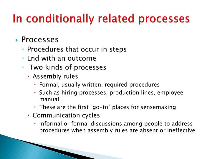 In conditionally related processes