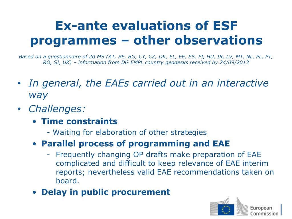 PPT - Ex-ante evaluations 2014-2020 of ESF operational