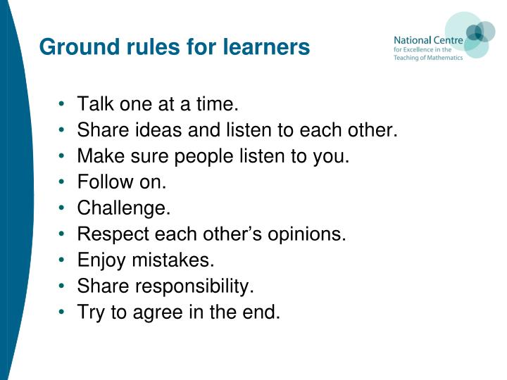 Ground rules for learners