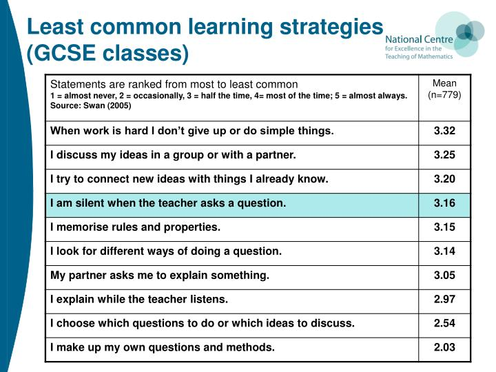 Least common learning strategies