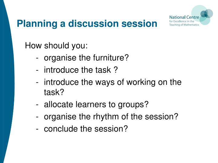Planning a discussion session