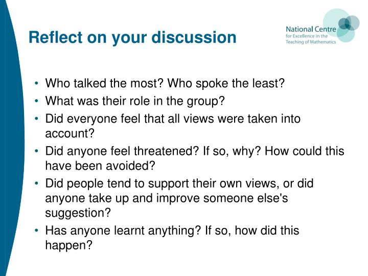 Reflect on your discussion