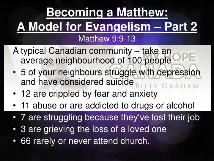becoming a matthew a model for evangelism part 2 matthew 9 9 13 n.