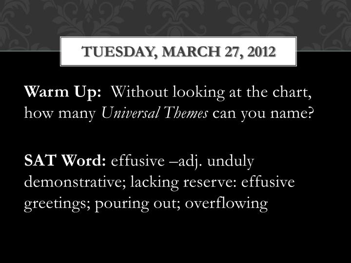 tuesday march 27 2012 n.