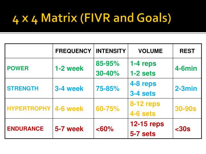 4 x 4 Matrix (FIVR and Goals)