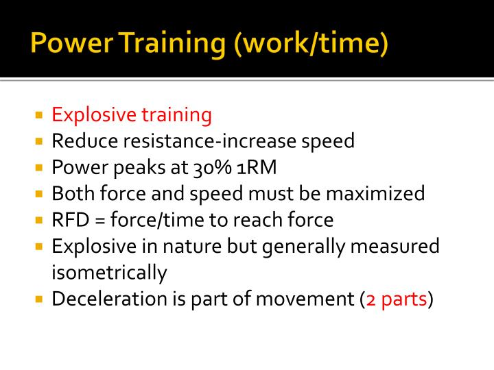 Power Training (work/time)