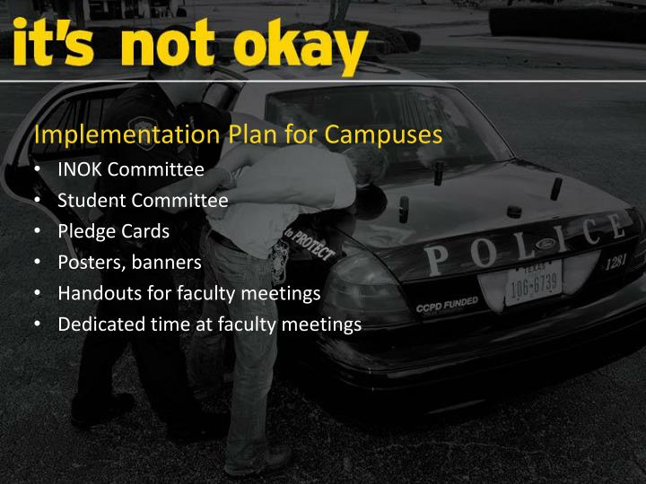 Implementation Plan for Campuses