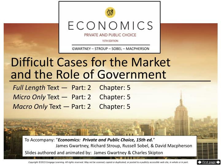 difficult cases for the market and the role of government n.