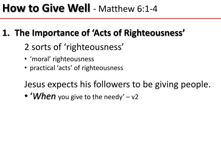 How to give well matthew 6 1 4