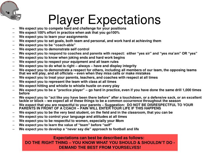 player expectations n.