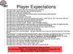 player expectations