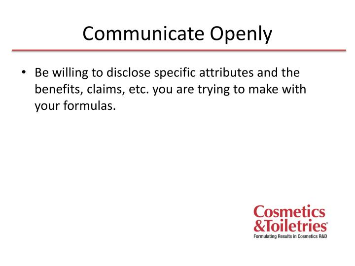 Communicate Openly