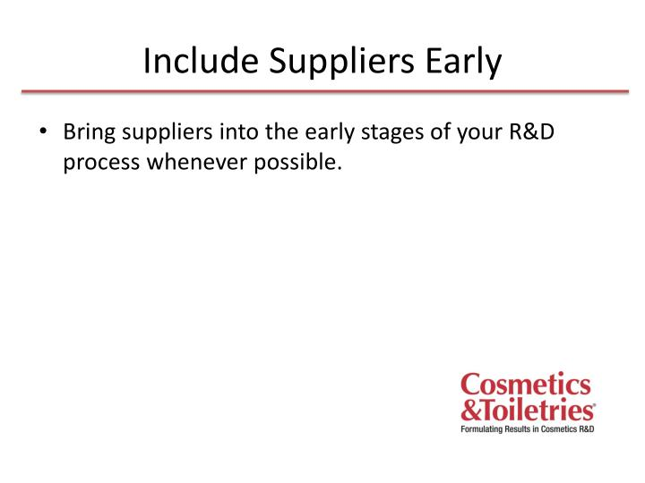 Include suppliers early