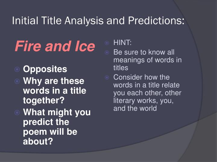 Initial Title Analysis and Predictions: