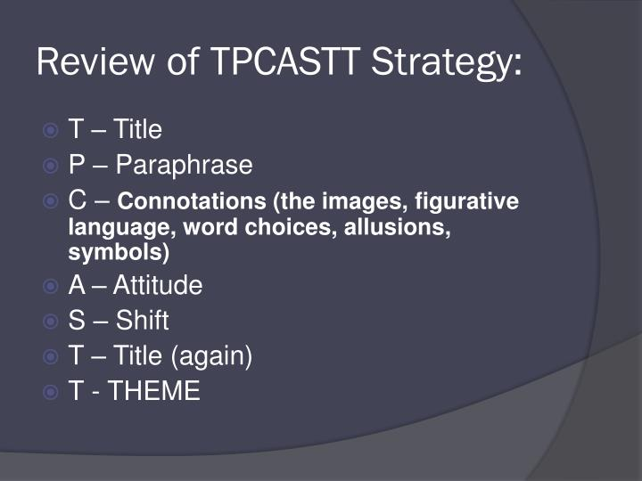 Review of tpcastt strategy