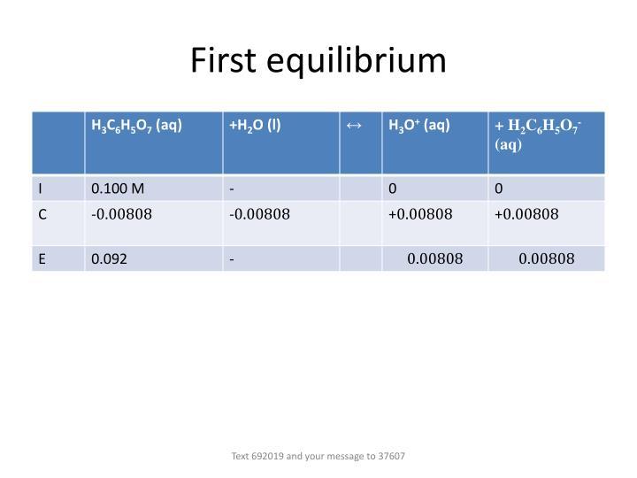 First equilibrium