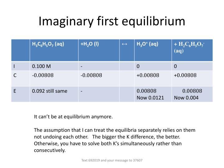 Imaginary first equilibrium