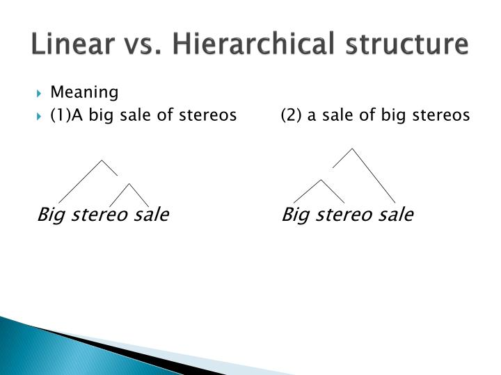 Linear vs. Hierarchical structure