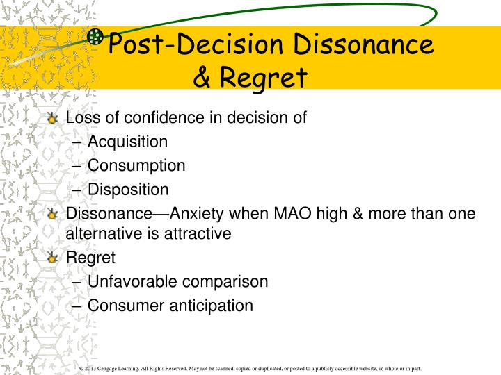 Post decision dissonance regret