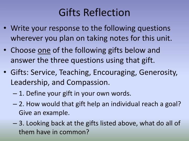 gifts reflection n.