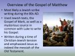 overview of the gospel of matthew