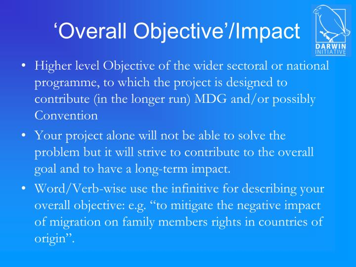 'Overall Objective'/Impact