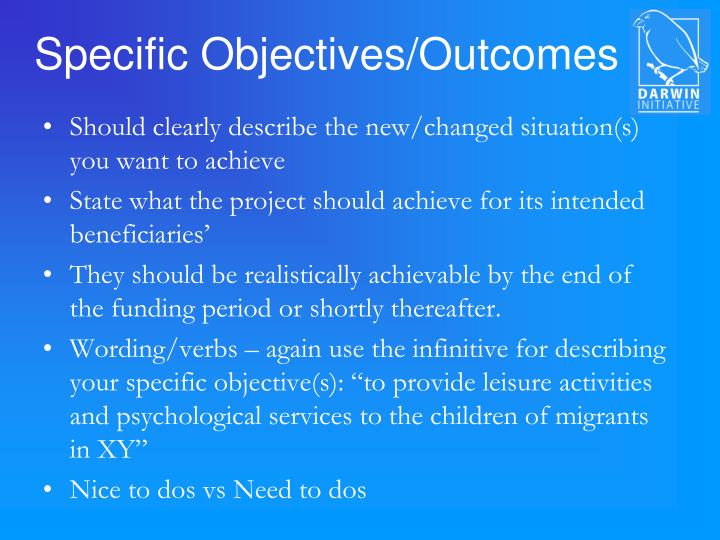 Specific Objectives/Outcomes