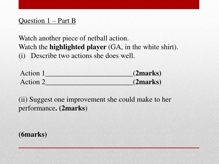 Question 1 – Part B