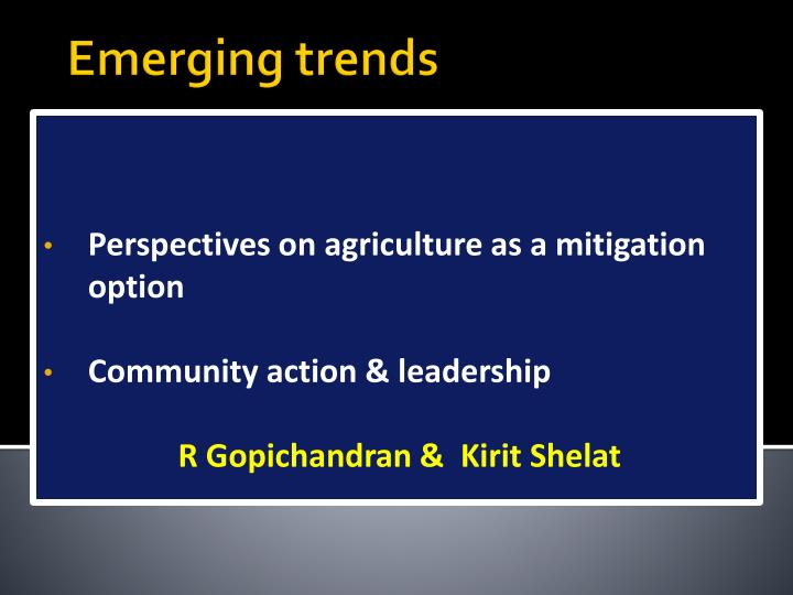Perspectives on agriculture as a mitigation option
