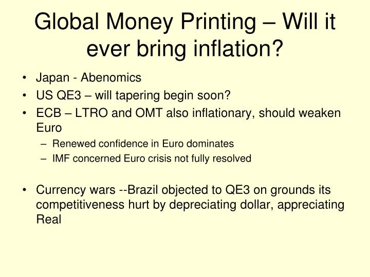 Global Money Printing – Will it ever bring inflation?