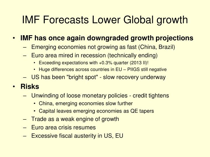 IMF Forecasts Lower Global growth