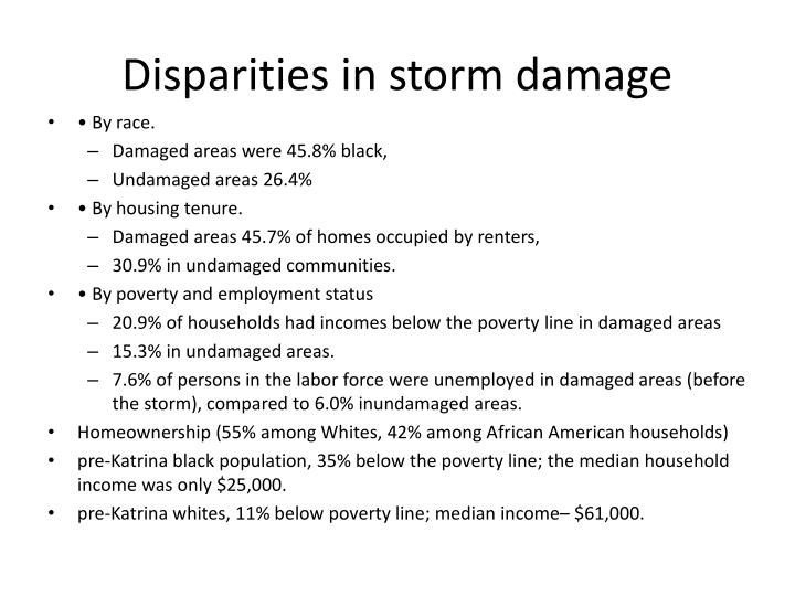 Disparities in storm damage