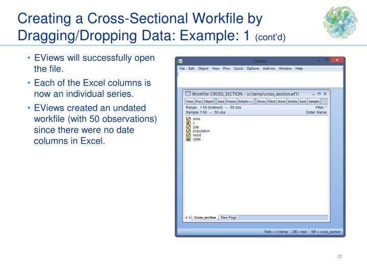 Creating a Cross-Sectional Workfile by Dragging/Dropping Data: Example: 1