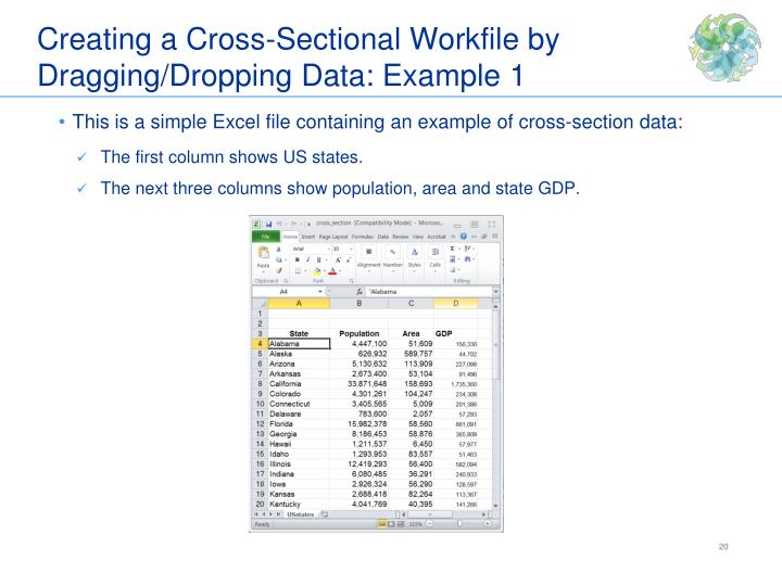Creating a Cross-Sectional Workfile by Dragging/Dropping Data: Example 1