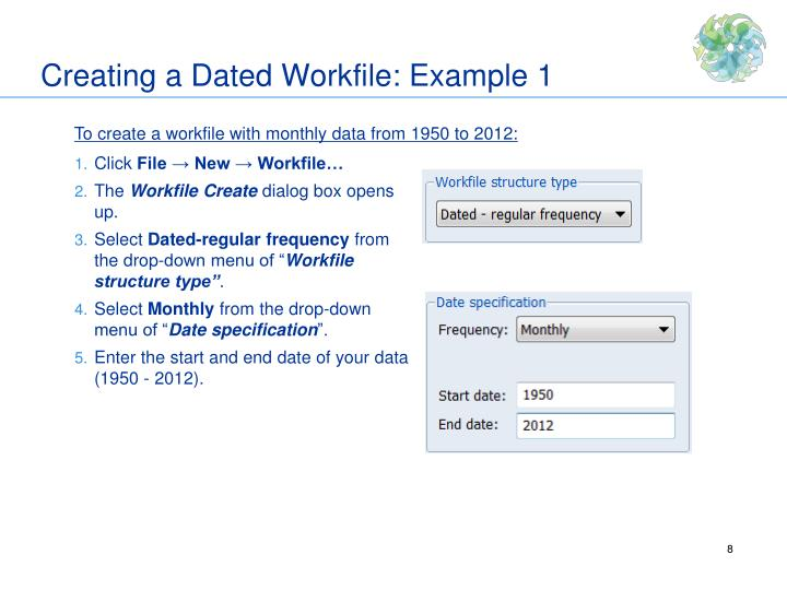 Creating a Dated Workfile: Example 1