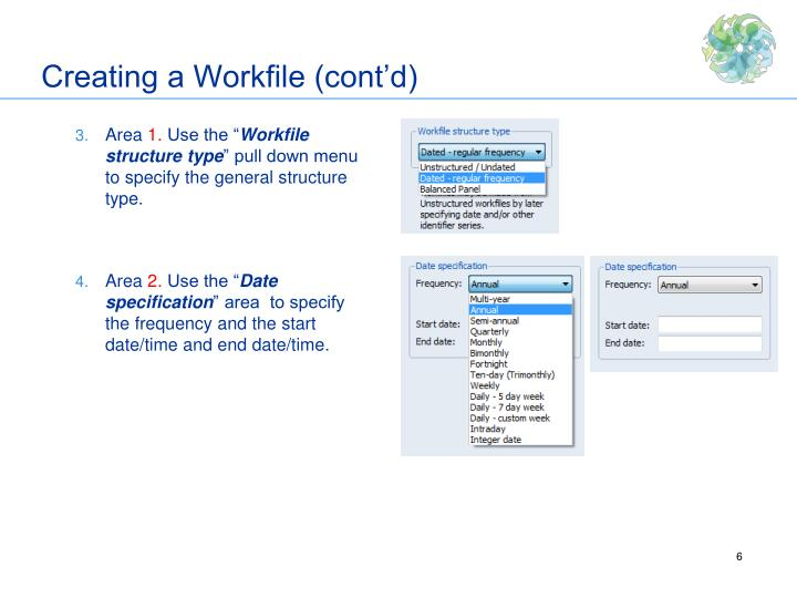 Creating a Workfile (cont'd)
