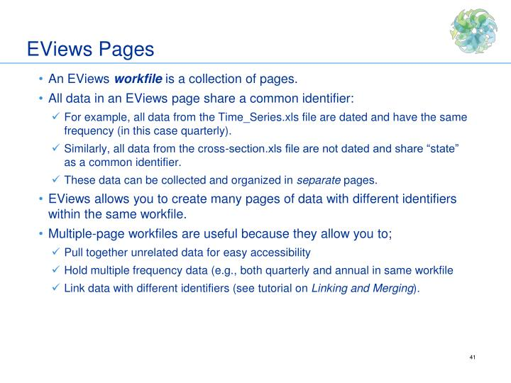 EViews Pages