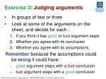 exercise 2 judging arguments