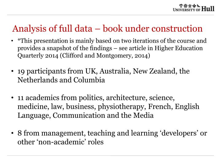 Analysis of full data – book under construction